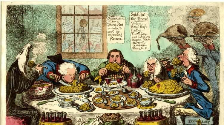 Ministers sit at a round dinner-table guzzling guineas, while through the window is seen a hungry mob. James Gillray, 1795. Liberal Arts